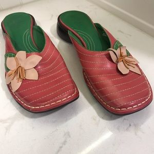 Indigo Clarks Pink Green Leather Flower Mules 10